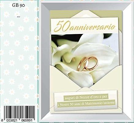Popolare Biglietto auguri anniversario 50 anni matrimonio fedi e petali  KL75