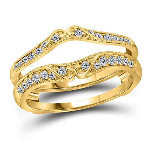 14k White Or Yellow Rose Gold Over Sterling Silver 1/4 Ct Tw Cubic Zirconia Antique Style Scroll Design Ring Guard