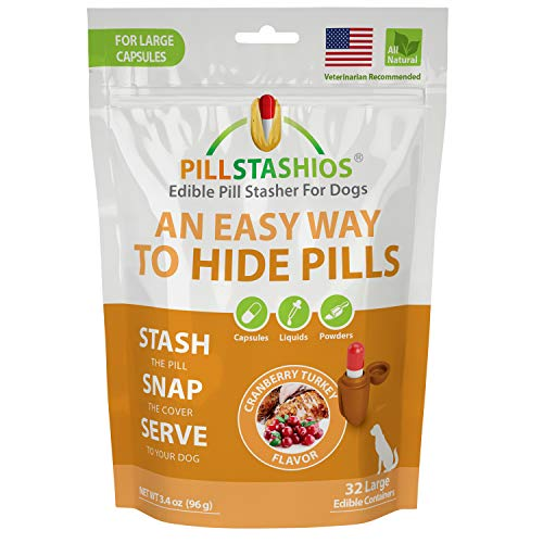 PillStashios - Pill Treat Pockets for Dogs, Easy Pill-Masker for Liquid, Powder and Capsule Medicine, Grain-Free, Gluten Free, Soy Free Pill Pouch in Cranberry Turkey Flavor, for Large Pills