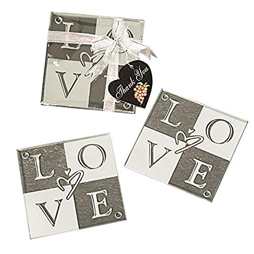 LOVE Coaster Wedding Favors (Set of 2), 72 (Love Wedding Glass Coasters)