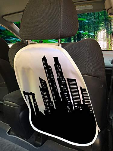 """Ambesonne Singapore Car Seat Protector Set of 2, Silhouette of The Buildings in Monochrome Style Busy Urban Vibes, Universal Kick Mat for Dirt Mud & Scratches, 18"""" x 24"""", Charcoal Grey and White"""
