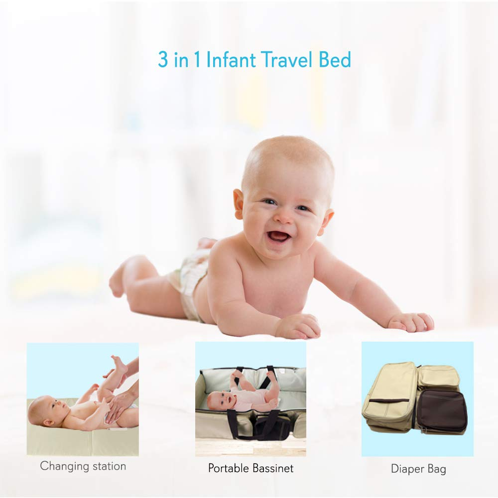 Scuddles 3 In 1 Travel Infant Bed Baby Diaper Bag & Baby Changing Pad Portable Systems | Infant Sleeping Bag | Travel Bed, Easy Carry Design Portable For Girls & Boys Travel Accessory (SC-FDB-01) by Scuddles (Image #5)