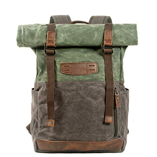 LIUJIANING European and American Retro Canvas Waxed Canvas Contrasting Color Backpack Outdoor Hiking Mountaineering Backpack Student Bag