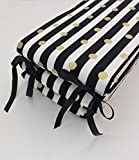 Crib Bumper - Black and White Stripes with Gold Dots