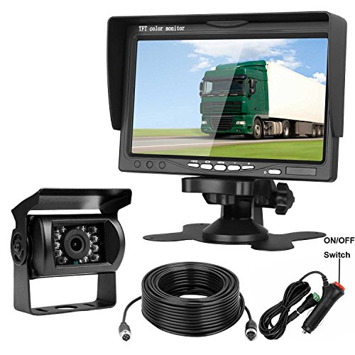 Emmako Backup Camera and 7 Display Monitor Kit For Truck/Camper/RV/Motorhome 66 Foot 4-Pin Cable Waterproof Night Vision Reverse Camera Single Power For Whole System Rear View/Constantly View Optional - 7 Pin 4 Pin Video Cable