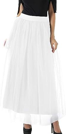 FEOYA - Falda larga de tul para mujer, 4 capas, para carnaval, boda ...