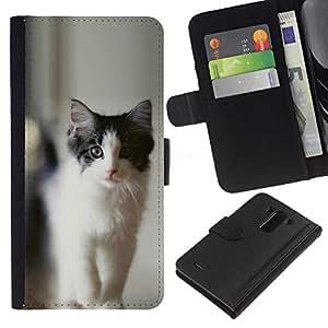 LECELL--Cuero de la tarjeta la carpeta del tirón Smartphone Slots Protección Holder For LG G3 -- NEGRO Y GRIS CAT --