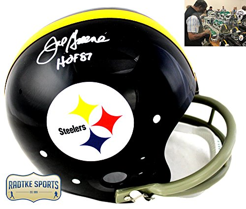 "Joe Greene Autographed/Signed Pittsburgh Steelers Throwback TK Suspension Helmet With""HOF 87"" Inscription"