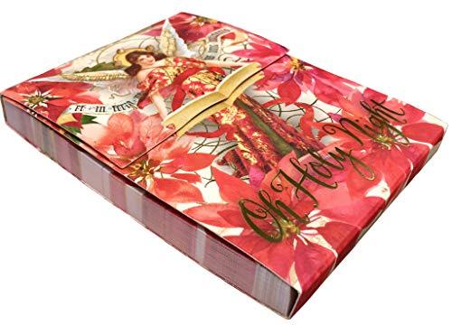Punch Studio Poinsettia Angel Gold Foil Embellished Mini Pocket Notepad 66656 ()