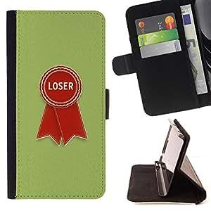 BullDog Case - FOR/HTC One M8 / - / loser badge sign quote red green retro style /- Monedero de cuero de la PU Llevar cubierta de la caja con el ID Credit Card Slots Flip funda de cuer