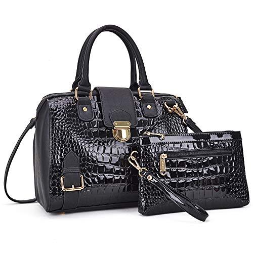 Dasein Women Barrel Handbags Purses Fashion Satchel Bags Top Handle Shoulder Bags Vegan Leather Tote Bags ()