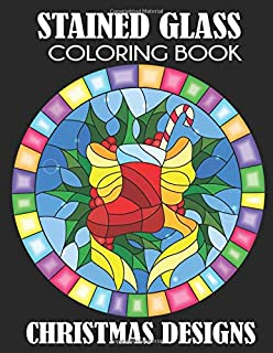 stained glass coloring book christmas designs