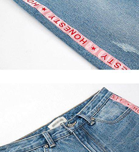 Distressed Pantaloni Denim Chic Dritti Zhiyuanan Cropped Jeans In Da Baggy Blu Donna Chiaro x1C4RwFq
