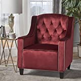 Cheap Gianna Two Tone Tufted New Velvet Club Chair (Garnet with Blush Accent)
