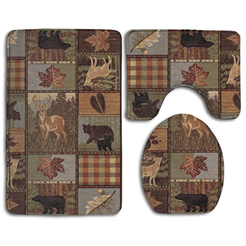 Rustic Cabins Moose Deers Home Deco 3 Piece Bathroom Rug Set Bath Rug, Contour Mat, Lid Cover Non-Slip with Rubber Backing ()