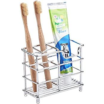 Mirandus Toothbrush Holder for Bathroom- Chrome Bathroom Organizer, Simple, Easy to Clean, Hygienic and Rust Resistant