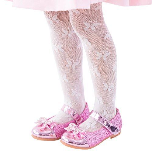 2a8daa9093ec6 FUN fun Lace fishnet tights(Butterfly pattern) Kids Little girls Dress  Party stockings White