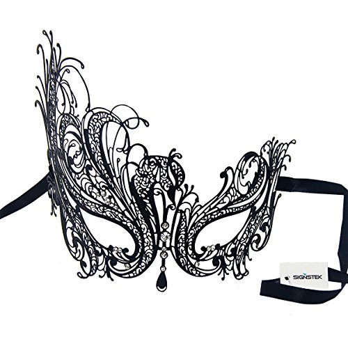 Crystal Ball Costumes (Signstek Metal Laser Cut Filigree Masquerade Venetian Party Mask, Black/Clear Stones)