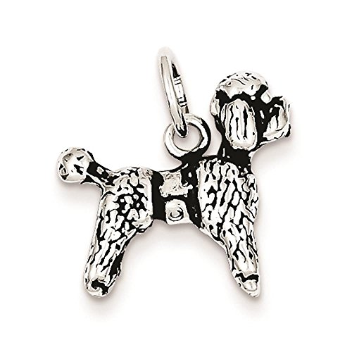 - 925 Sterling Silver Antiqued 3-D Poodle 16mm x 17mm Charm Pendant