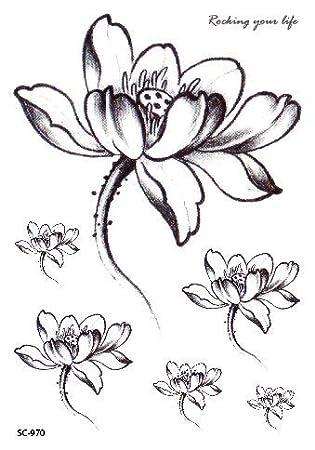 HXMAN 7pcs Tatuaje Temporal Negro Flor Tatuaje Mangas ...