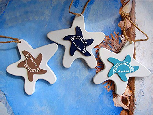 Mediterranean Series Decorative Wall Stairs And Door Pendant Gift Crafts 3pcs/set (starfish) by Sea style decoration
