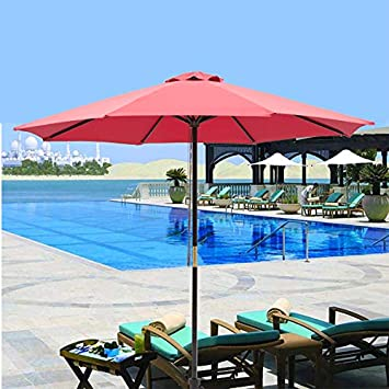 SUNNYARD 9 Ft Wood Market Patio Umbrella Outdoor Garden Yard Umbrella with Pulley Lift, 8 Ribs, Red