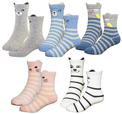 HzCodelo Kids Toddler Big Little Girls Fashion Cotton Crew Cute Socks -5 Pairs Gift Set,Multicolor-DOS,Shoe size 12.5-3/L