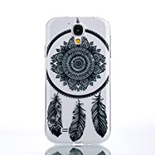 Galaxy S4 Case, Weline Samsung Galaxy S4 Case Clear Design Black Baroque Retro Feather Lace Pattern Durable Protective Shockproof TPU Silicone Bumper Cover for Samsung Galaxy S4 - Dream Catcher