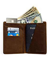 RFID Blocking Passport Holder Travel Wallet - Genuine Crazy Horse Leather