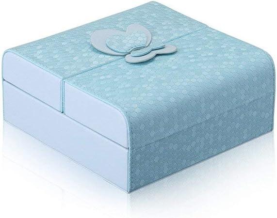 Cajas de joyería DJSSH En Forma de Mariposa joyería Caja de Joyas Pendientes de Ver el Collar de la Pulseras Organizador Caja de Almacenamiento niñas y Mujeres Regalo DJSSH (Color : Azul):