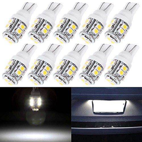 License Plate Lights,cciyu Super White T10 10-3528-SMD LED Light bulbs,168 Bulb 194 LED Bulb,10Pack by CCIYU