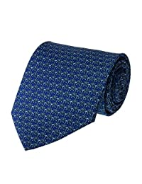 Mens Necktie Blue with Turquoise Anchor Pattern Fashion Tie