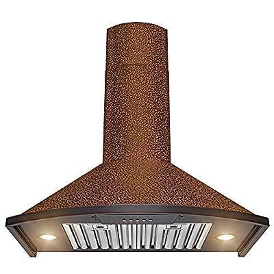"AKDY Wall Mount Range Hood –30"" Embossed Copper Hood Fan for Kitchen – 3-Speed Professional Quiet Motor – Push Control Panel – Modern Design – Dishwasher-Safe Baffle Filters"