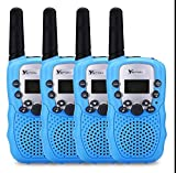 YETION Kids Walkie Talkies For Boy 4 Pack Two Way Radios Long Range Distance 22 Channel Clear Sound Toy Walky Talky for Christmas/Birthday Gift (Blue x4)