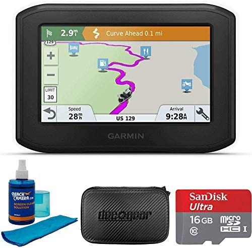 Garmin Zumo 396LMT-S Motorcycle GPS Navigator Bundle with GPS, Hard EVA Case, MicroSD HC 16GB C10 U1 with SD Adapter and Screen Cleaner