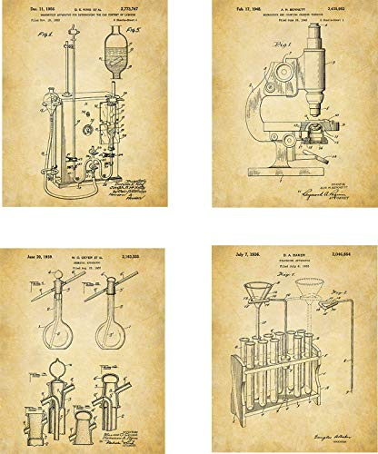 Science Patent Wall Art Prints – set of Four (8×10) Unframed – wall art decor for science lovers