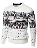 H2H Mens Casual Slim Fit Knitted Crew Neck Sweaters Thermal of Various Christmas Pattern White US S/Asia M (CMOSWL052)