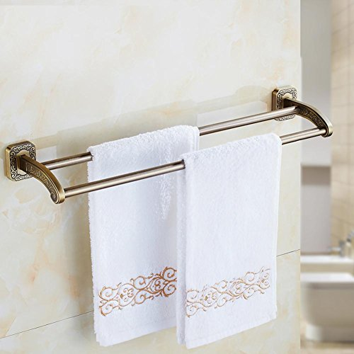 YONG Antique carved towel rack double rod wall perforated bathroom accessories 50%OFF