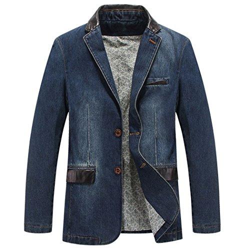 Sun Lorence Men's 2 Buttons Leather Lapel Denim Jackets Casual Business Suits Blazer Denimblue ()