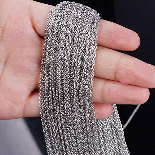 (FidgetKute 1.5/2/2.5/3mm Flat Rolo Link Chain Stainless Steel Jewelry Findings Accessories 2mm 10meters)