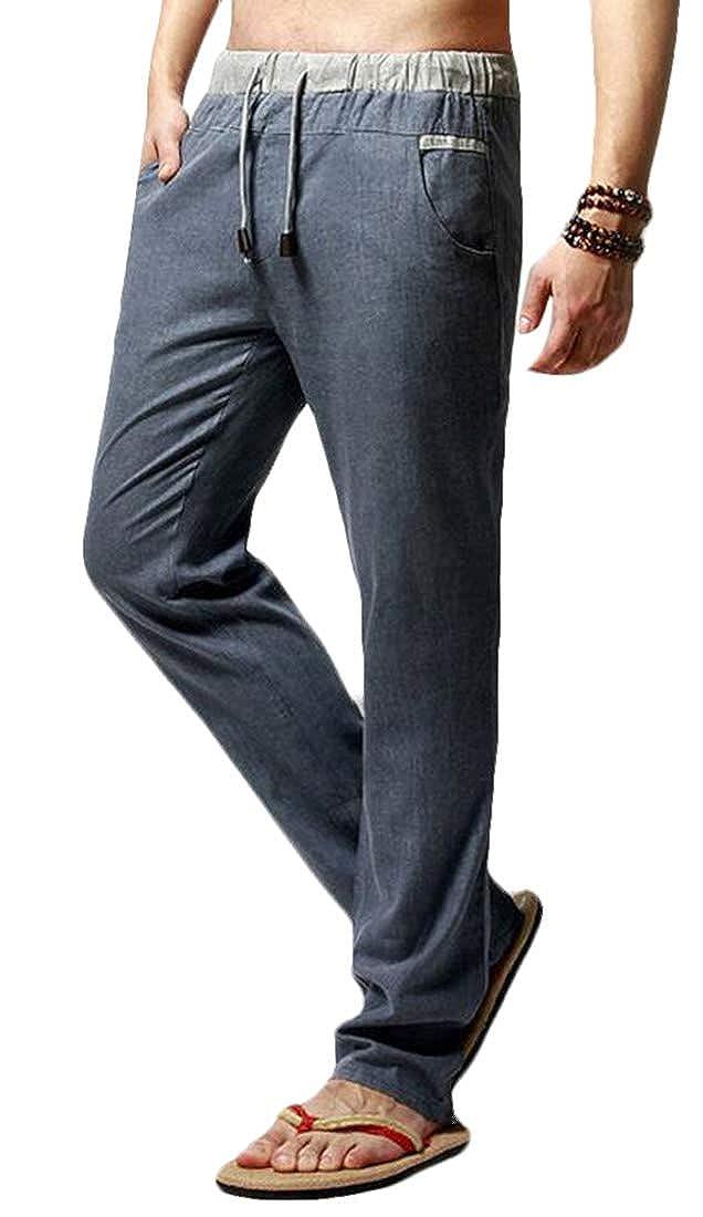 GRMO Men Loose Fit Linen Elastic Waist Casual Straight Leg Lightweight Pants