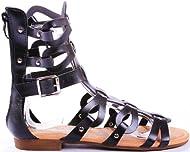 de8f1c2fa JJF Shoes Atta1 Caged Strappy Gladiator Comfort Flat Sandals ...
