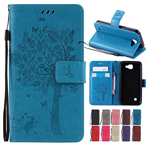 Price comparison product image LG Optimus Zone 3 / LG Rebel 4G LTE / LG K4 VS425 / LG Spree Case,, BestAlice Tree Cat Butterfly PU Leather Fold Wallet Stand Pouch Magnetic Wrist Strap Case Skin Cover , Blue