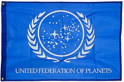 United Federation of Planets Flag, Exclusive Star Trek Merchandise for Indoor/ Outdoor Use, 100% Polyester, 3 x 5 Ft (Star Trek United Federation Of Planets Blue Flag)