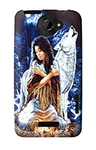 S0147 Grim Wolf Indian Girl Case Cover for HTC ONE X