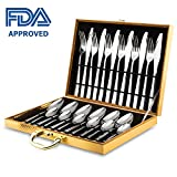 Cutlery Sets, 24 piece Stainless Steel Flatware Silverware Set For 6 Person with Knife/Fork/Spoon, Mirror Polished, Dishwasher Safe, Design In Gift Box, GEYUEYA Home