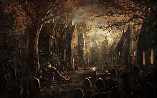 Horror Face Painting Ideas (NAN Wind Golden Pumpkin Lantern Old Castle Haunted House in Grave with Sunset Painting Halloween Wall Art Painting Pictures Festival Art Print Print On Canvas Art The Picture For Home Modern Decor)