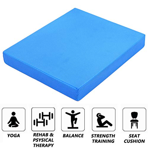 Strainho Non-Slip Yoga Balance Pad,Gym Exercise Mat for Physical Therapy, Stability Workout, Knee and Ankle Exercise, Strength Training, Rehab - Chair Cushion for Adults, Kids, and Travel(Blue)