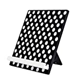 WELLAND Reading Cookbook Cook Book Stand Holder Tablet Holder Stand (Black w/White Dots)