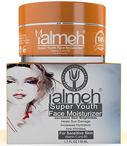Yalmeh Super Youth Vitamin C Face Moisturizer-Day/Night Moisturizer for Sensitive Skin, A Luxury Anti Aging Treatment Formula with Organic Vitamin C, B5, Matrixyl 3000, MSM,CoQ10, Hydrates Plumps Skin